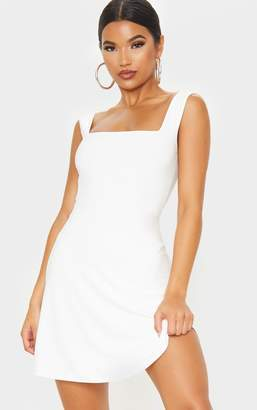 PrettyLittleThing White Slinky Square Neck Skater Dress