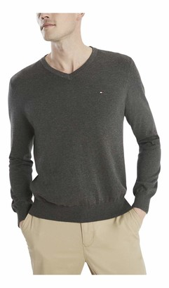 Tommy Sportswear Men's Big & Tall Signature V-Neck Sweater -Asphalt Heather 2XL