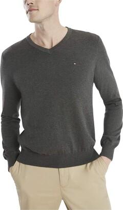 Tommy Sportswear Men's Big & Tall Signature V-Neck Sweater -Asphalt Heather 4XL