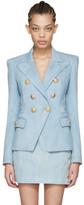 Balmain Blue Denim Six-Button Blazer