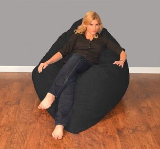 Breton Large Bean Bag Chair Bay Isle Home Fabric: Micro Suede - Black