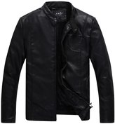 URBANFIND Men's Vintage Stand Collar Faux Fur Lined PU Leather Jacket US L