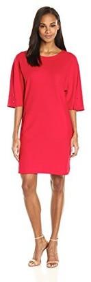 Joan Vass Women's Plus Size Cotton Pique Dress with Snap Sleeve