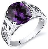 Peora Created Color Change Sapphire Solitiare Ring Sterling Silver 3.50 Carats Size 6