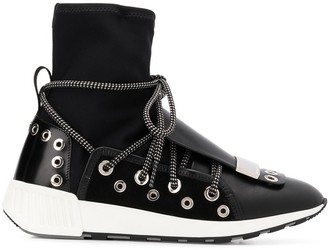 Sergio Rossi Silver Hardware Embellished Sneakers