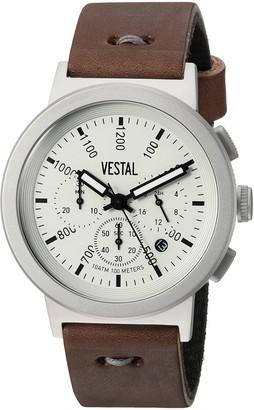 Vestal Men's Retrofocus Chrono Makers Stainless Steel Japanese-Quartz Watch with Leather Calfskin Strap