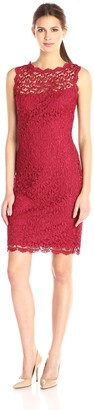 Marina Women's Sleeveless Pretzel Lace Dress with Keyhole at Center Back