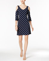 Connected Cold-Shoulder Polka-Dot Shift Dress