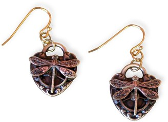 Elaine Coyne Galleries Handmade Antique Dragonfly Watch Gear on Heart Dangle Earrings