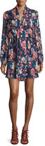 Haute Hippie Free Love Floral Silk Mini Dress, San Franciscan Night