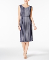 Connected Petite Striped Pleated Belted Dress