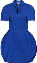 Vionnet Leather-trimmed stretch cotton-blend mini dress