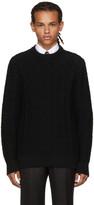 Brioni Black Cable Knit Crewneck Sweater