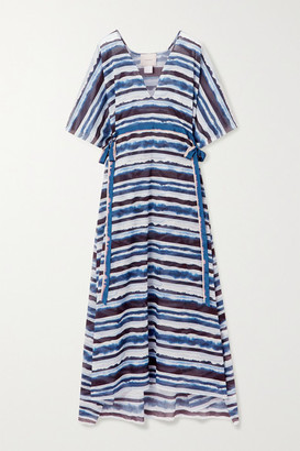 Marios Schwab On The Island By Arkoi Tie-dyed Cotton-voile Kaftan - Navy