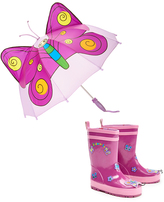 Kidorable Purple Butterfly Rain Boot & Umbrella - Infant Toddler & Girls