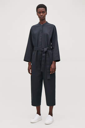 Cos BELTED JUMPSUIT WITH GRANDAD COLLAR