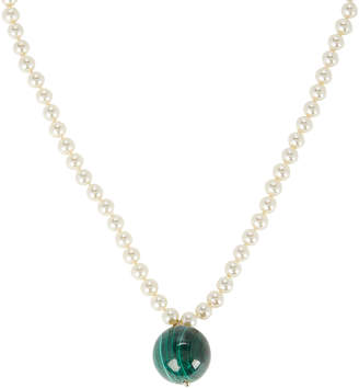 Timeless Pearly Malachite Pendant Faux Pearl Necklace