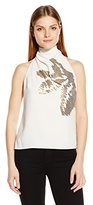 Halston Women's Sl Mock Neck Top W Orchid Stripe Embellishment, Value Not Found