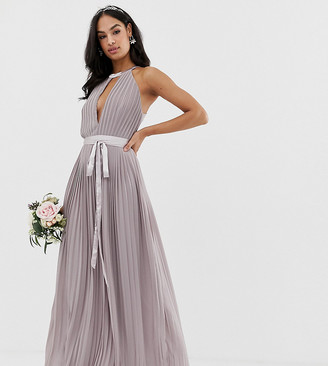 TFNC pleated maxi bridesmaid dress with cross back and bow detail in gray