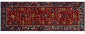 """Bloomsbury Market One-of-a-Kind Zimmermann Handmade Kilim 3'6"""" x 10'2"""" Wool Red/Violet/Brown Area Rug"""