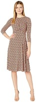 Donna Morgan 3/4 Sleeve Stretch Knit Jersey Midi with Knot Front and Pleated Skirt Dress (Rose Multi) Women's Dress