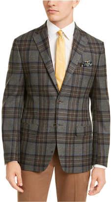 Tallia Men Slim-Fit Gray/Blue Windowpane Plaid Sport Coat