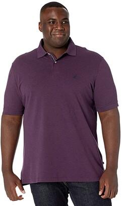 Nautica Big Tall Short Sleeve Solid Deck Shirt (Deep Purple Heather) Men's Clothing