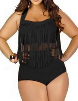Lekeez Women's Plus Size Tassels Swimsuit Swimwear Bikini Set Two Pieces XXXL