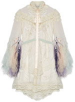 Marc Jacobs Lace-trimmed Embellished Tulle And Chiffon Mini Dress - Ivory