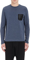 Barneys New York MEN'S MESH-POCKET LONG-SLEEVE T-SHIRT-BLUE SIZE XS
