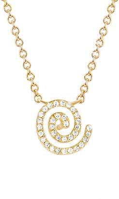 Ef Collection 14K Yellow Gold Pave Set Diamond Swirl Pendant Necklace