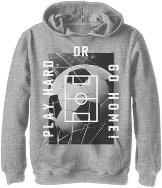 Fifth Sun Boys 8-20 Play Hard Soccer Poster Graphic Hoodie