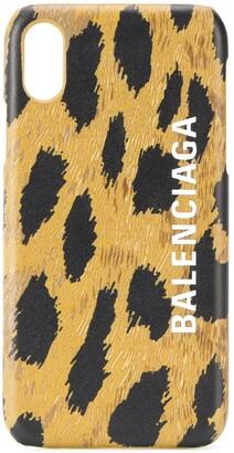 Balenciaga Cash leopard-print iPhone Xs case