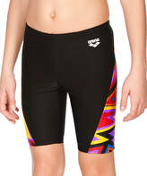 Arena Black & Red Geometric-Panel Swim Shorts - Boys