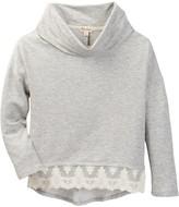 Ten Sixty Sherman Cowl Neck Lace Hem Sweater (Big Girls)