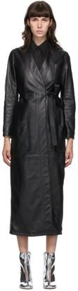 MM6 MAISON MARGIELA Black Leather Wrap Jacket