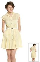 Betsey Johnson Eyelet Belted Shirt Dress