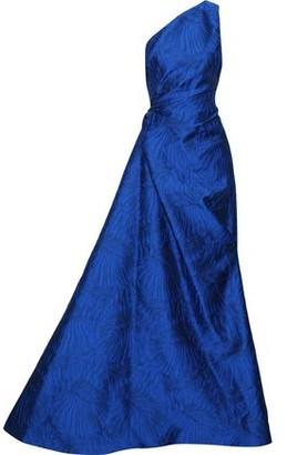 Reem Acra One-shoulder Gathered Cloque-jacquard Gown