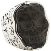 King Baby Studio Carved Jet Day of the Dead Skull in Silver Frame Ring Ring