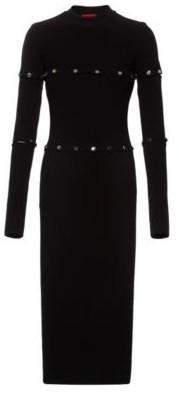 HUGO BOSS Multi Way Knitted Midi Dress With Polished Stud Detailing - Black