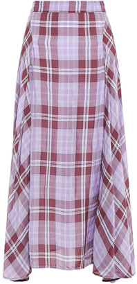 Victoria Beckham Pleated Checked Crinkled-organza Maxi Skirt