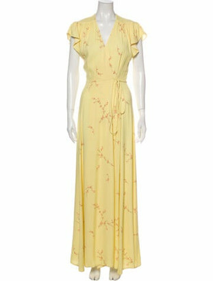 Reformation Floral Print Long Dress Yellow