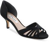 Nina Coella d'Orsay Peep-Toe Kitten-Heel Evening Sandals