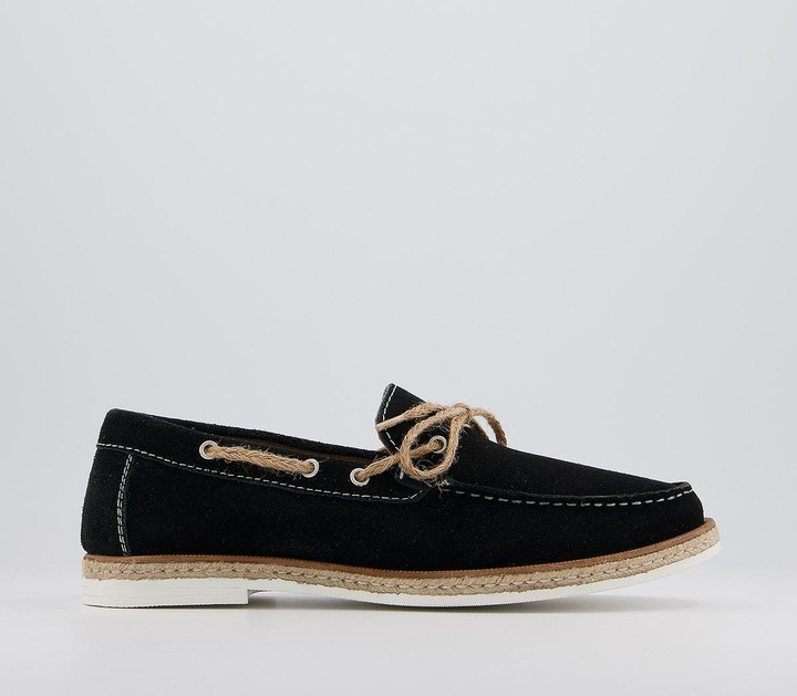 Walk London Bahama Lace Loafers Black Suede