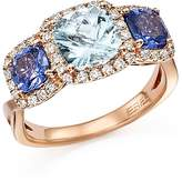 Bloomingdale's Tanzanite, Aquamarine and Diamond Three Stone Ring in 14K Rose Gold