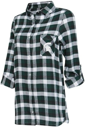 Women's Concepts Sport Green/Black Michigan State Spartans Piedmont Flannel Long Sleeve Button-Up Nightshirt