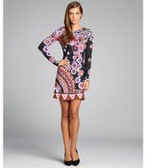 Julie Brown JB by black and purple patterned long sleeved stretch jersey dress
