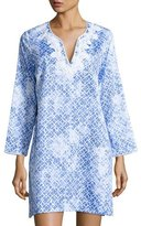 Oscar de la Renta Printed Cotton Sateen Sleepshirt, Blue