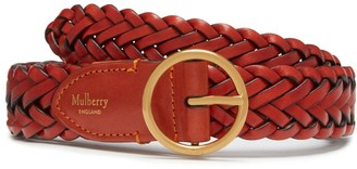 Mulberry Classic Braided Belt Rust Natural Leather