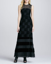 Nanette Lepore Enchanted Velvet-Stripe Gown